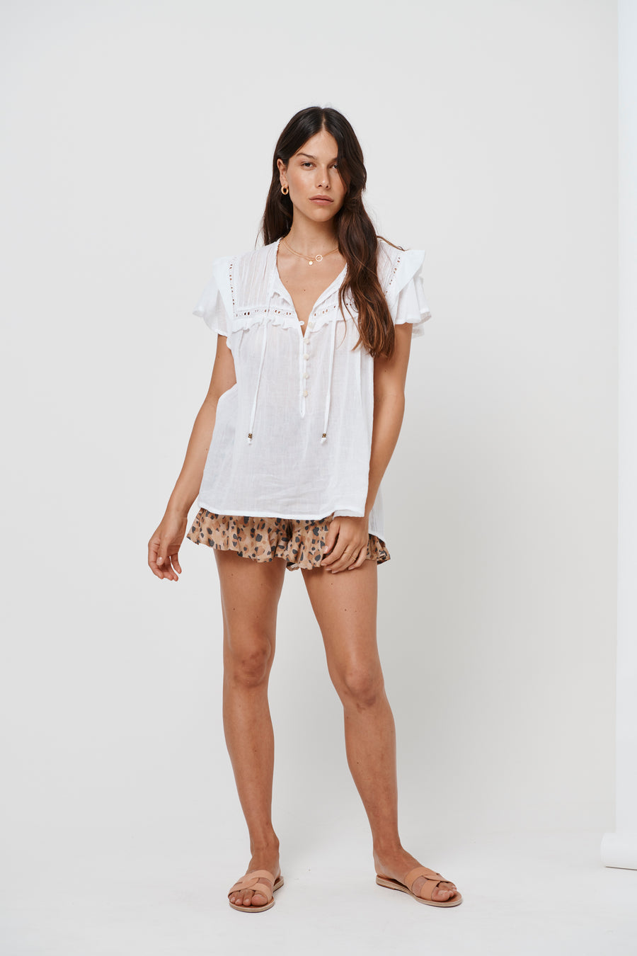 Kivari Camille White Short Sleeve Blouse