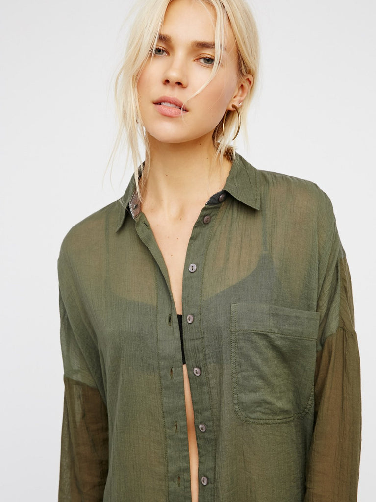 Free People Rainbow Rays Buttondown Army