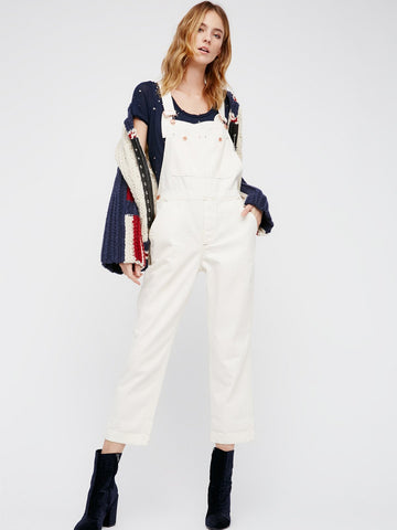 Free People Boyfriend Overalls White - Call Me The Breeze - 1