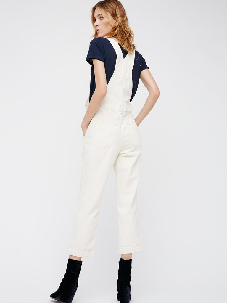 Free People Boyfriend Overalls White - Call Me The Breeze - 3