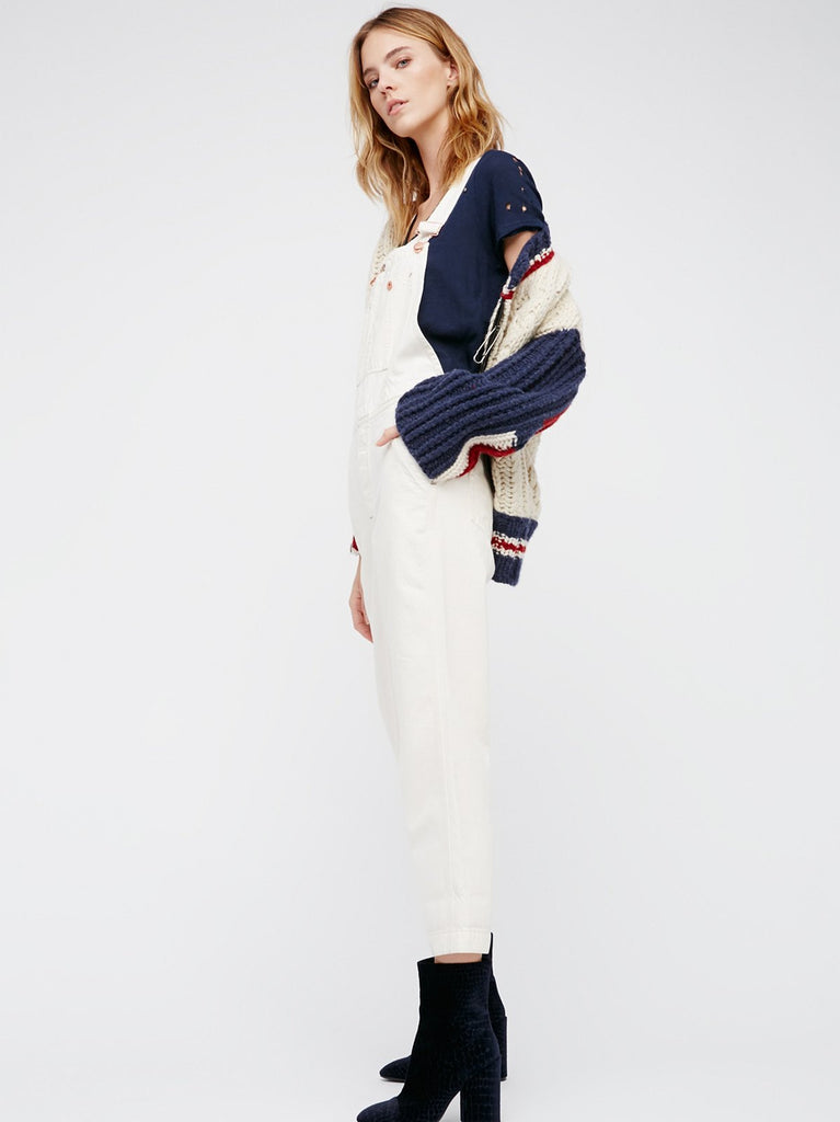 Free People Boyfriend Overalls White - Call Me The Breeze - 4