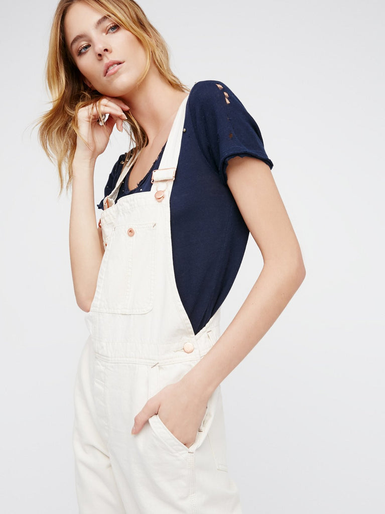 Free People Boyfriend Overalls White - Call Me The Breeze - 5