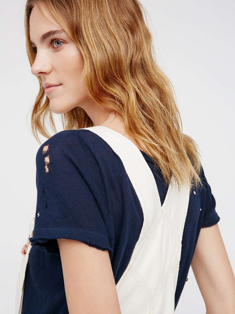 Free People Boyfriend Overalls White - Call Me The Breeze - 6