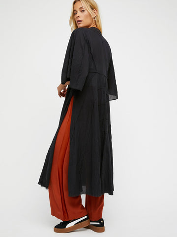 Free People Curved Gauze Duster Black