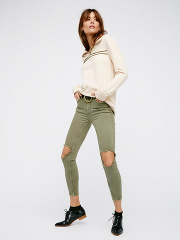 Free People High Rise Busted Skinny Moss