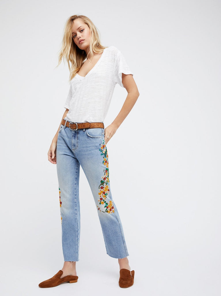 Free People Garden Embroidered Jeans