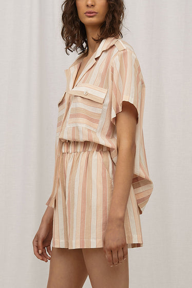 Steele Yumi Shirt Toffee Stripe