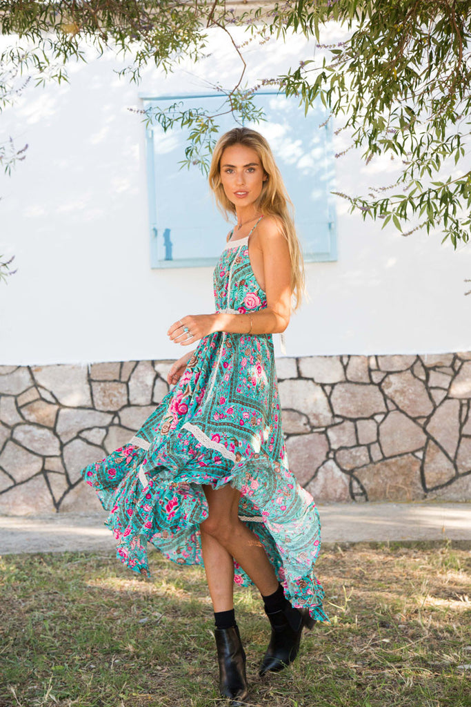 Spell Babushka Midi Dress Turquoise - Call Me The Breeze - 3