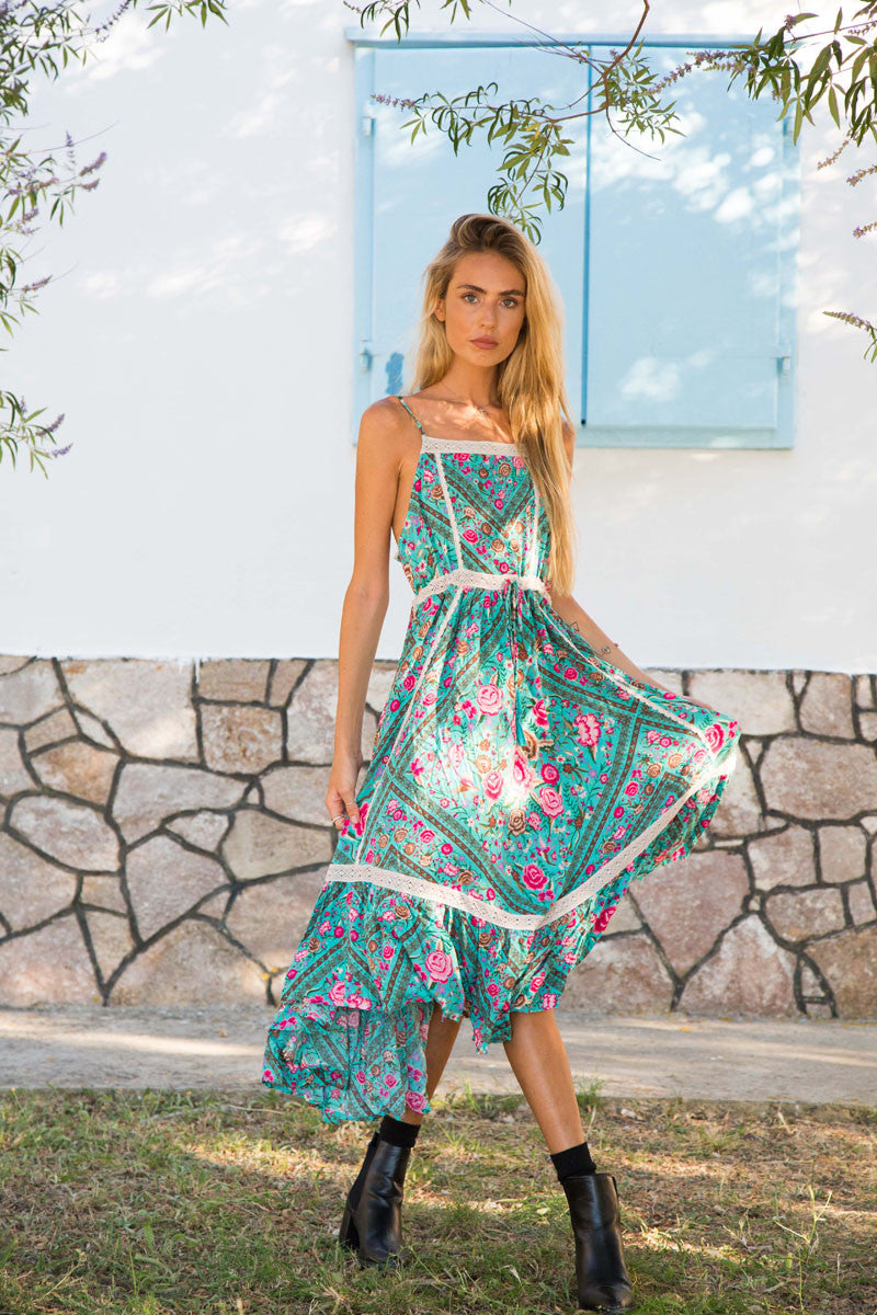 Spell Babushka Midi Dress Turquoise - Call Me The Breeze - 1