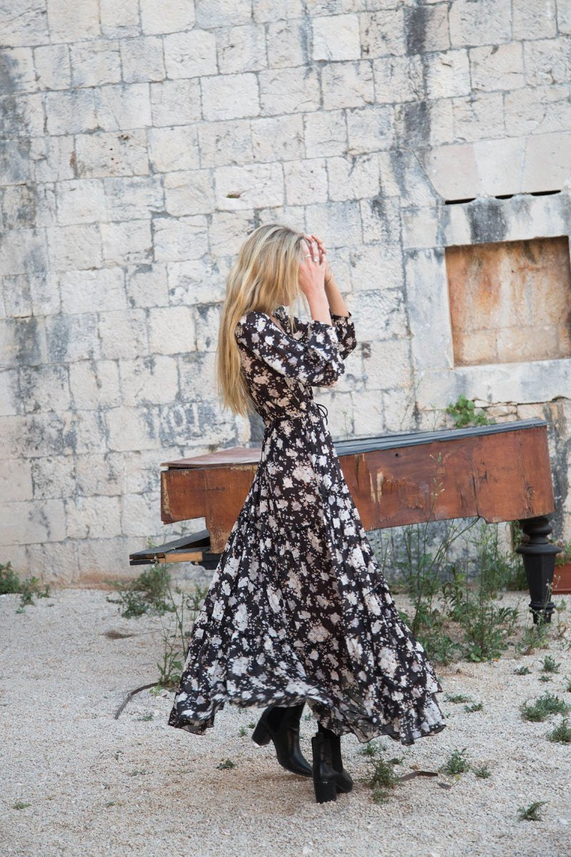 Spell Gypsy Dancer Gown Caviar // EXCLUSIVE - Call Me The Breeze - 4