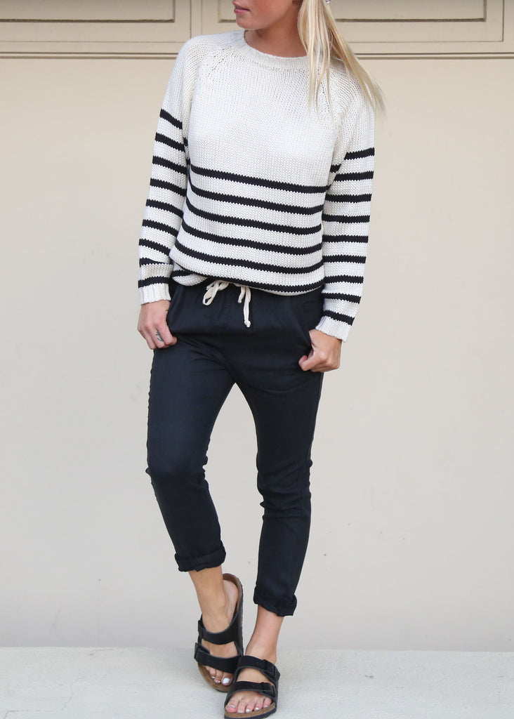 The Bare Road Knit Crew Jumper B&W Stripe - Call Me The Breeze - 2