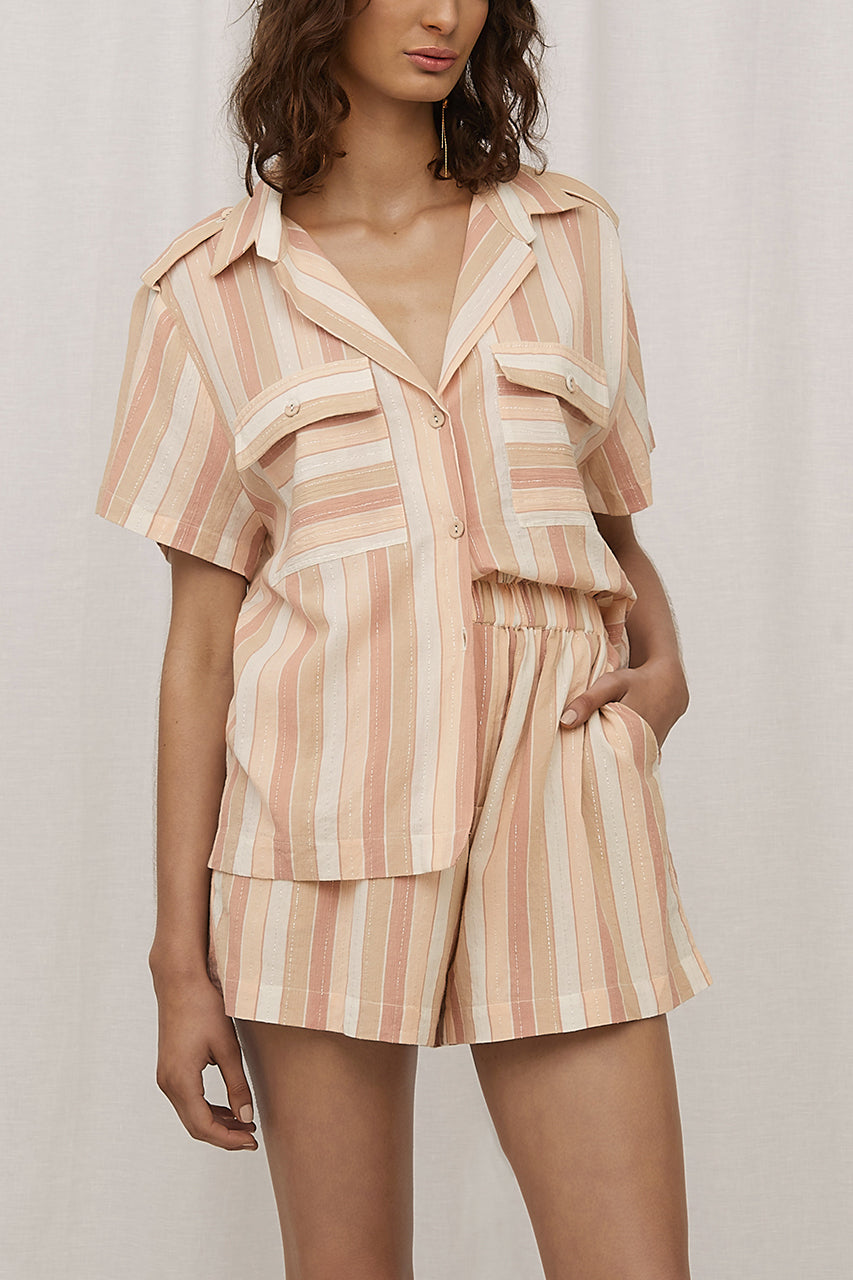 Steele Zadie Shorts Toffee Stripe