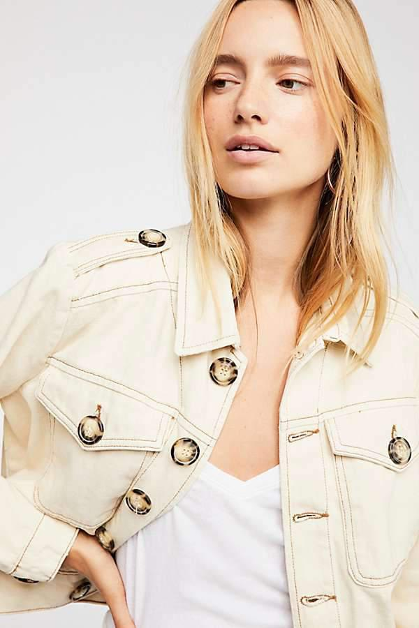 Free People Eisenhower Denim Slouchy Ivory