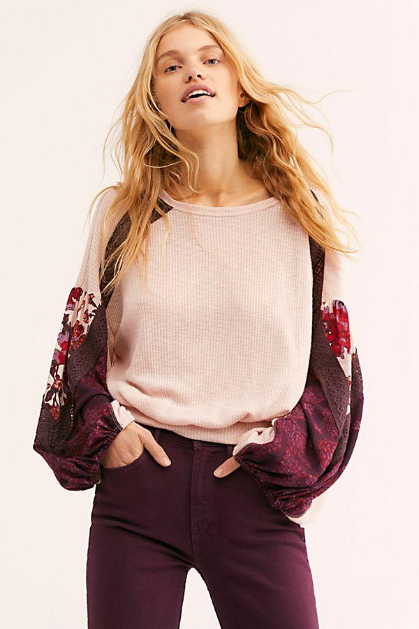 Free People Casual Clash Top Rose Combo