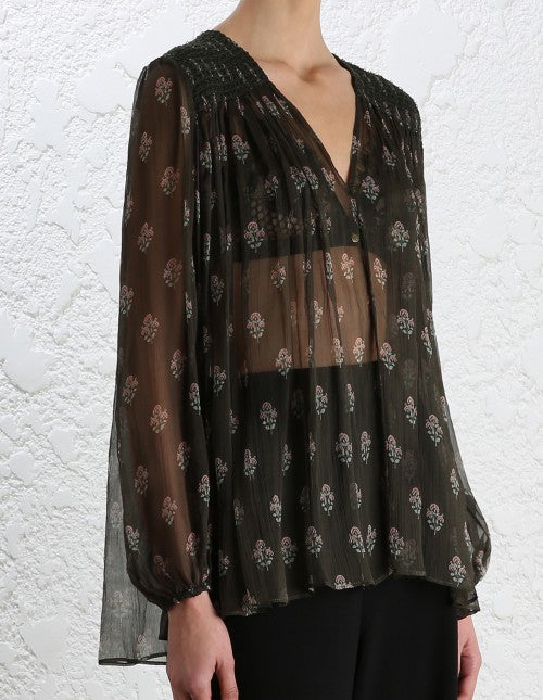 Zimmermann Karmic Stamp Smock Blouse - Call Me The Breeze - 5
