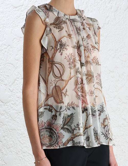 Zimmermann Karmic Flounce Tank Indienne Floral - Call Me The Breeze - 5