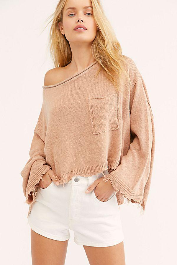 Free People Prism Solid Sweater Peach