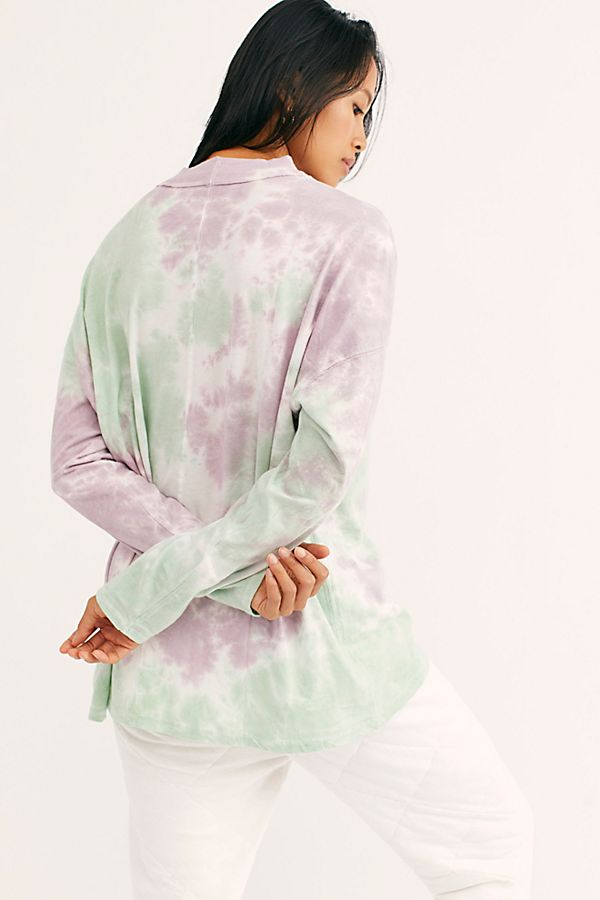 Free People Be Free Tie Dye Tee Purple Combo