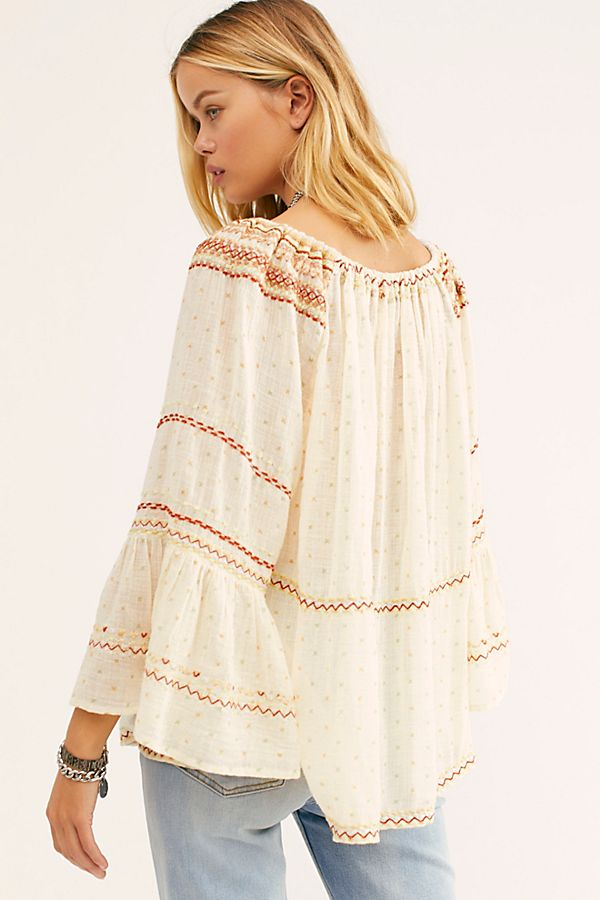 Free People Talia Embroidered Blouse White