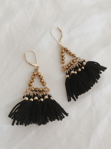 Call Me The Breeze Audrey Tassel Earrings Black