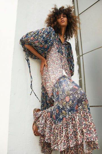 Free People Estelle Chiffon Maxi Blue Combo