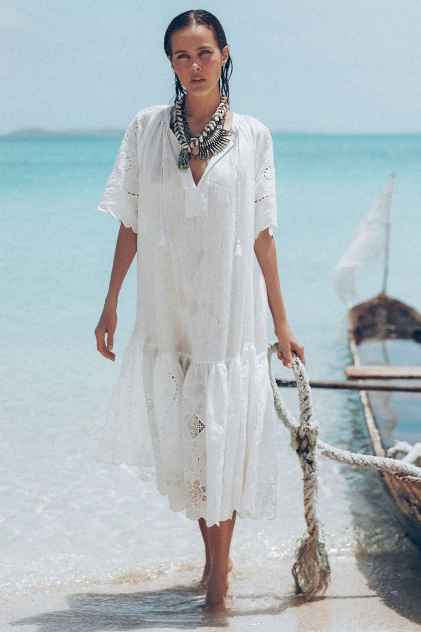 Spell Lala Linen House Dress White