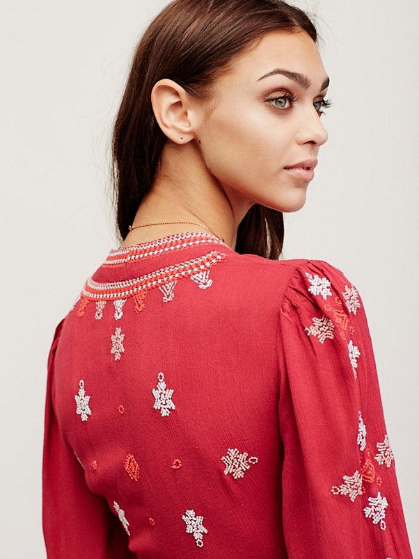 Free People Star Gazer Dress Red - Call Me The Breeze - 4