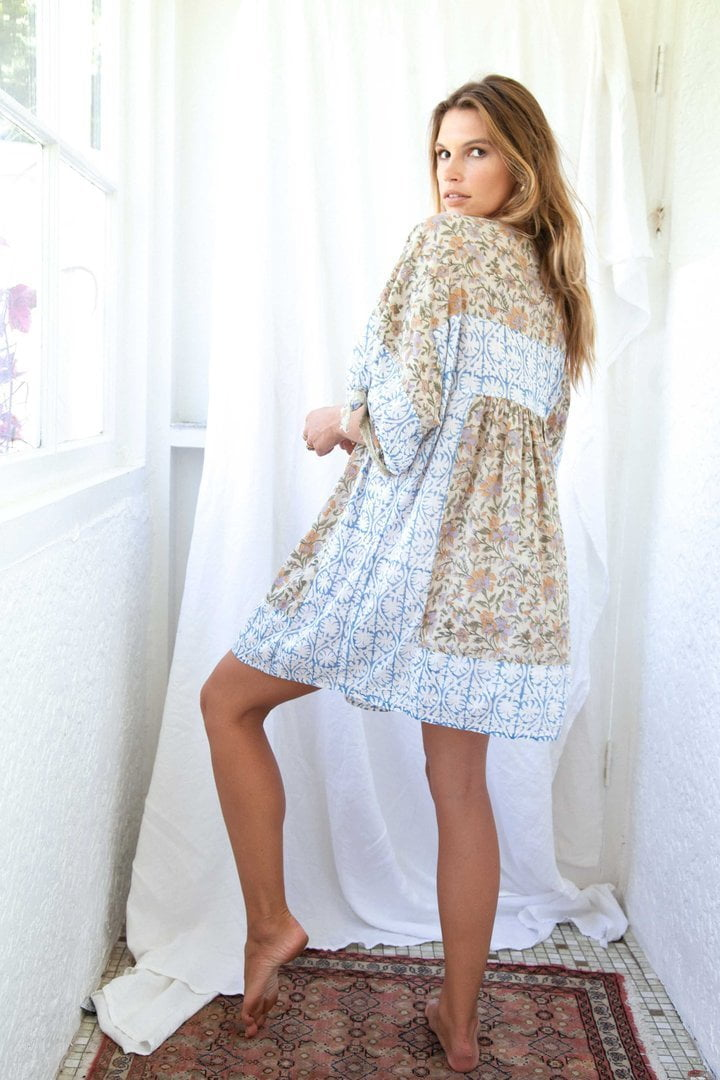 Kinga Csilla Lollies Dress Tan And Blues