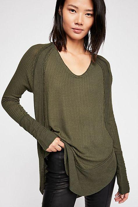 Free People Catalina Thermal Dark Military