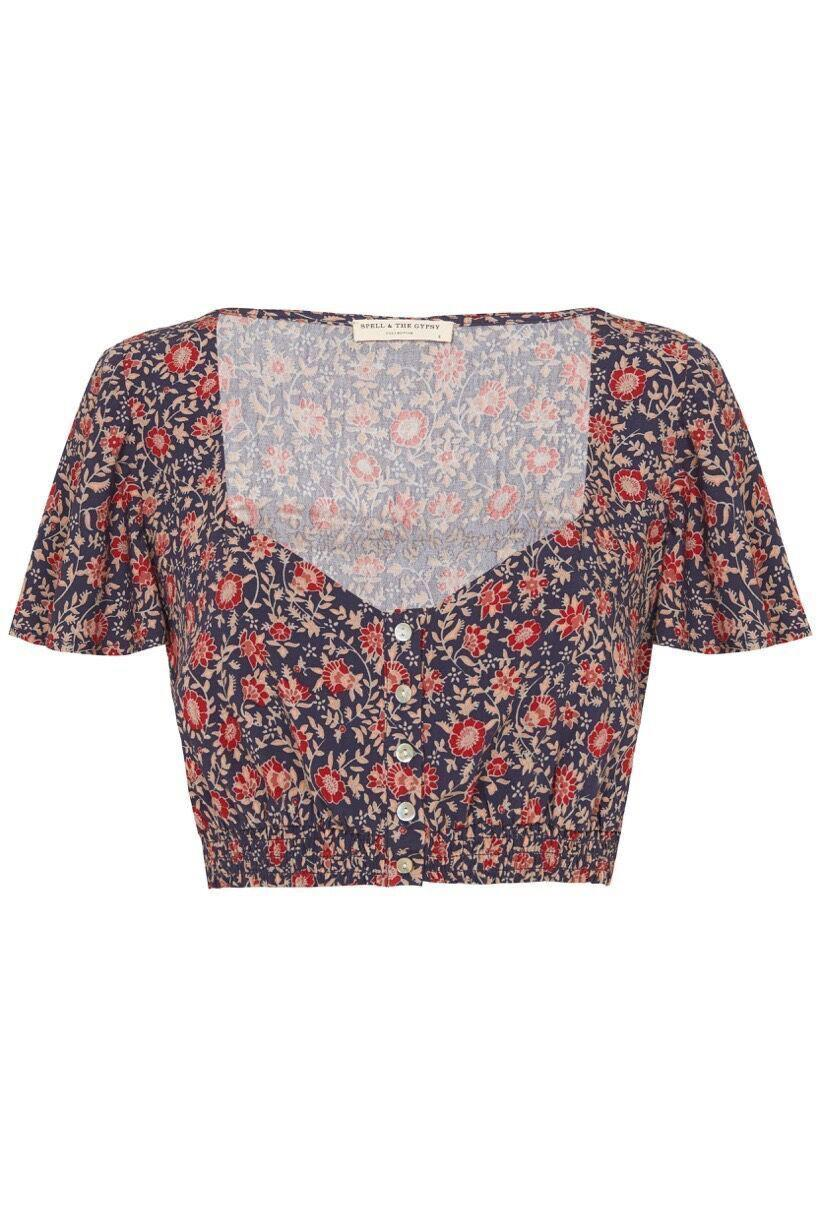 Spell Jasmine Cropped Top Navy