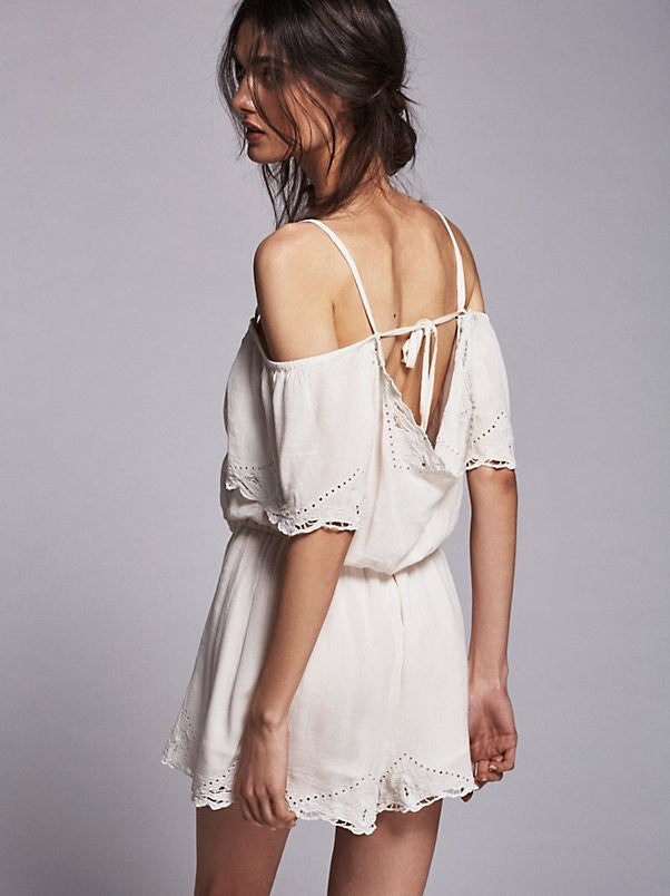 Free People White Romance Romper - Call Me The Breeze