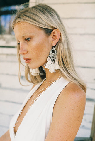 Call Me The Breeze Dolly Tassel Earrings Cream - Call Me The Breeze - 1