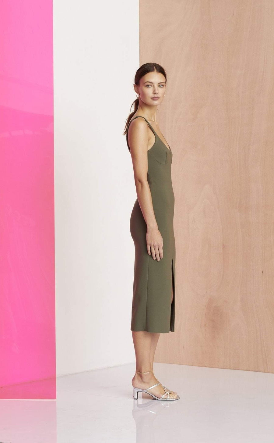 Bec and Bridge Amelie Cup Midi Dress Sage