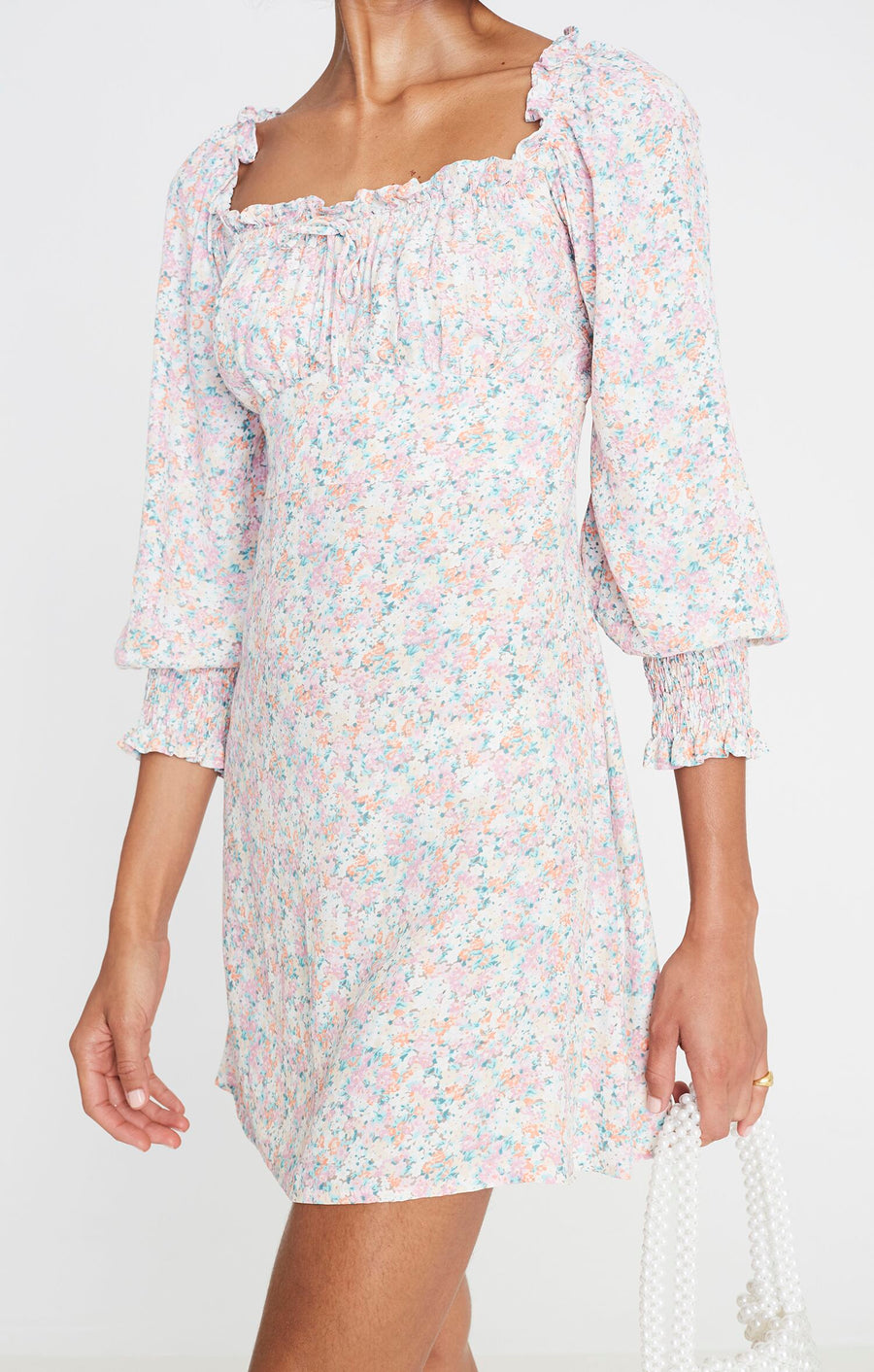 Faithfull Ira Mini Dress Vionette Floral Print Pink