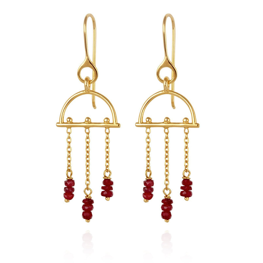 Temple Of The Sun Amira Earrings Ruby Gold