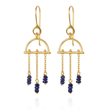 Temple Of The Sun Amira Earrings Sapphire Gold