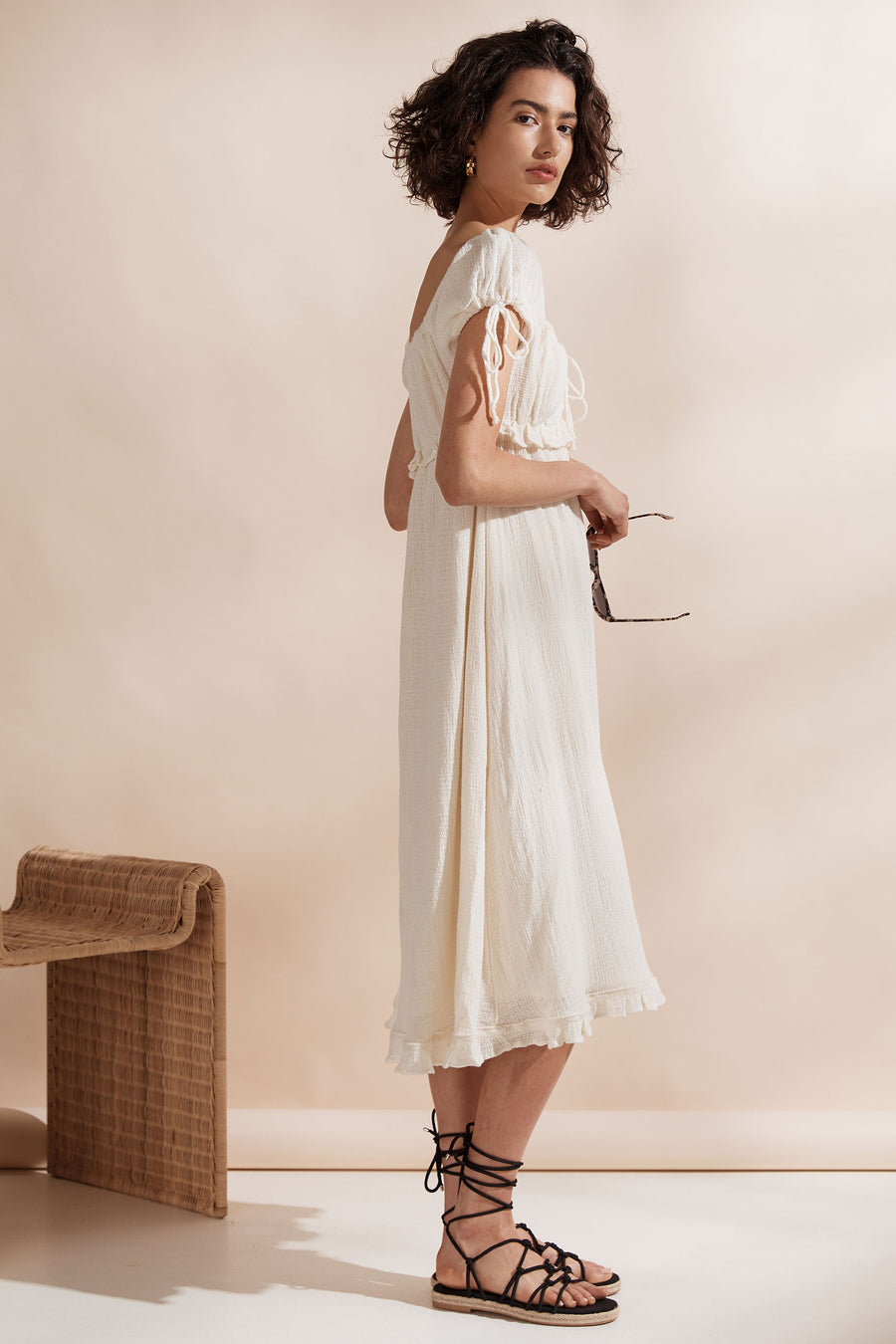 Saint Helena Aia Midi Dress Cream
