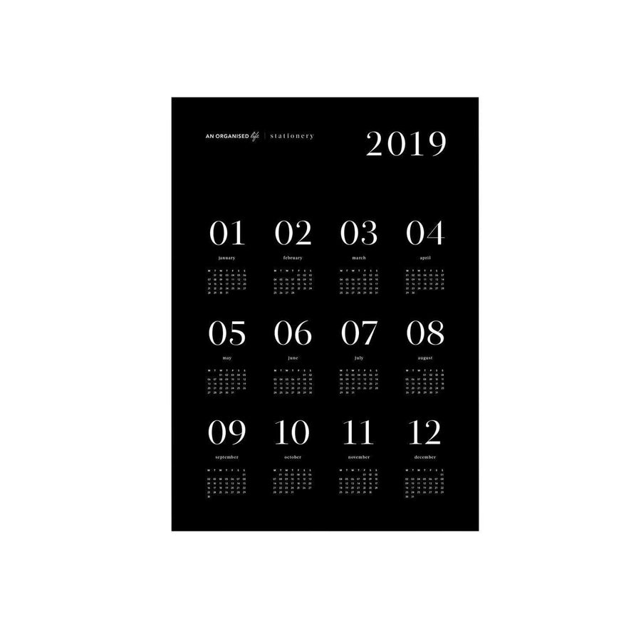 An Organised Life 2019 A2 Black Calendar