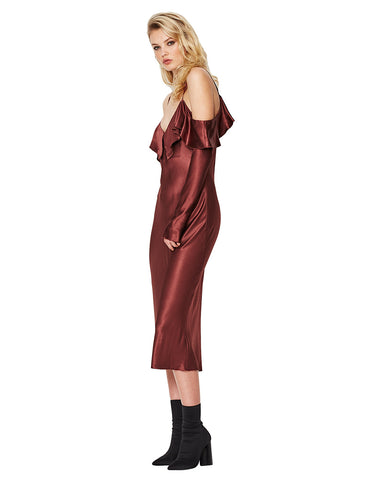 Bec and Bridge Liquid Envy Flounce Dress Mahogany