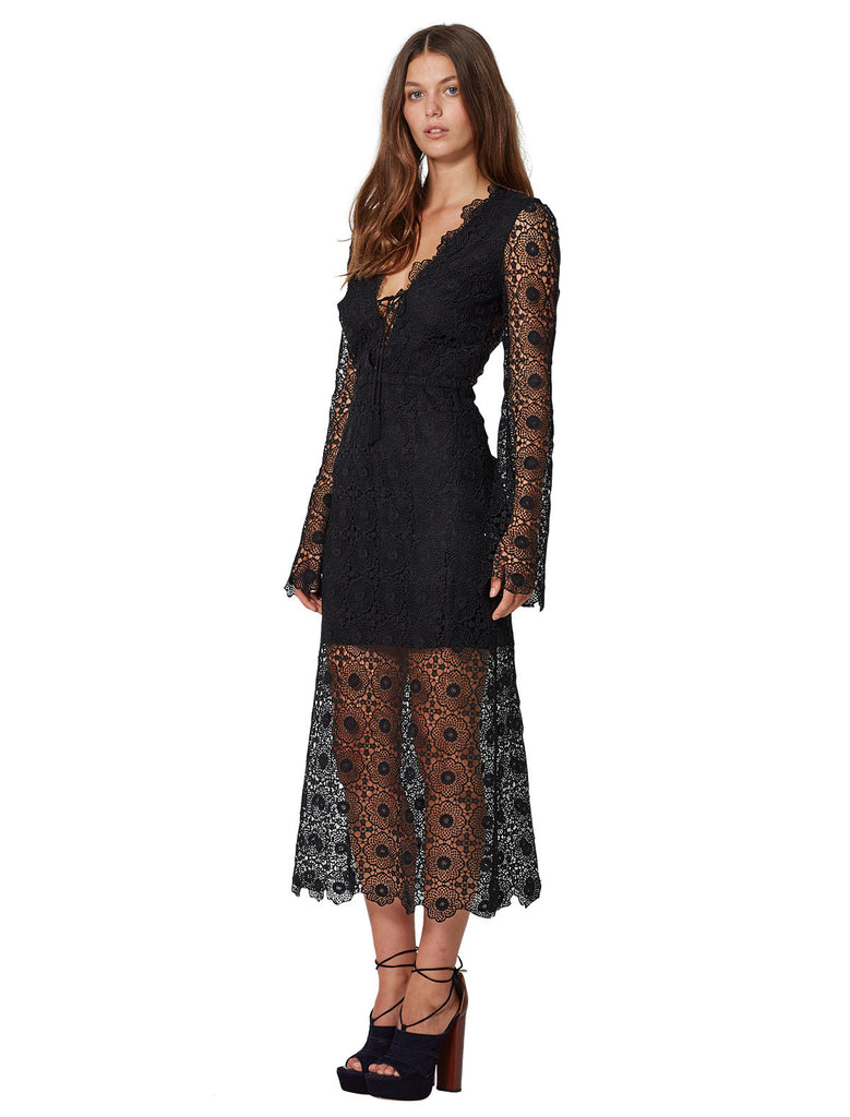 Bec and Bridge Daisy Chain Long Sleeve Dress Black - Call Me The Breeze