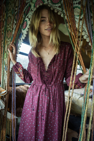 Chasing Unicorns Gypsy Woman Maxi Dress Plum // PREORDER