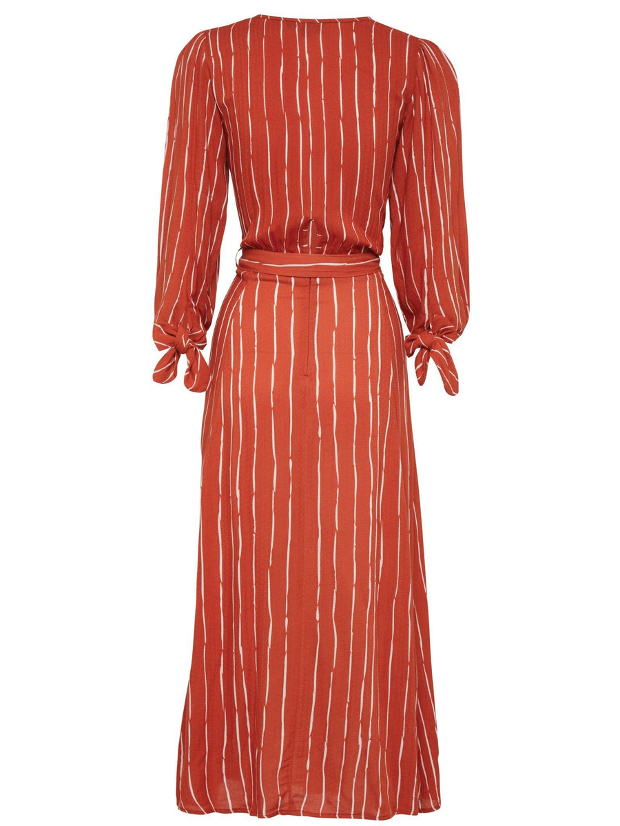 Kivari Coco Rust Tie Front Maxi Dress Rust Stripe