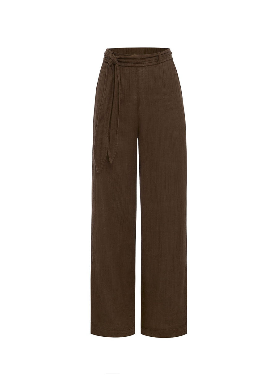 Peony Chocolate Belted Vacation Pant