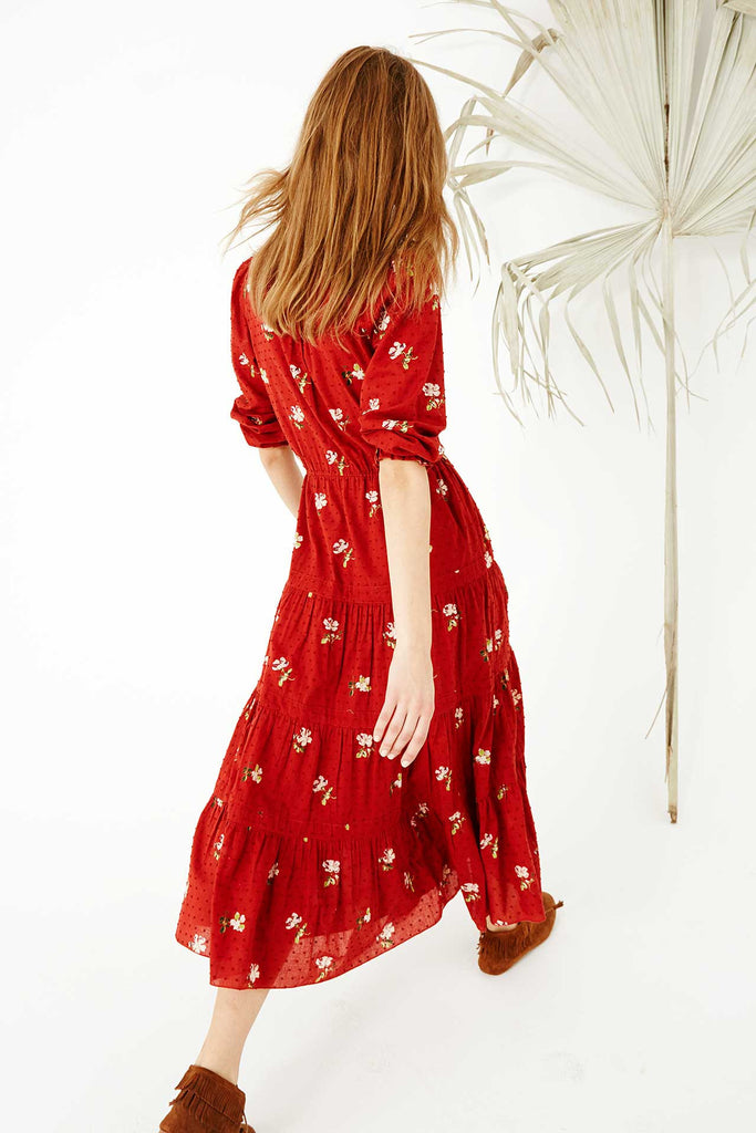 Ulla Johnson Clementine Floral Print Dress Crimson - Call Me The Breeze - 2
