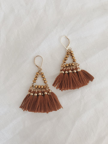 Call Me The Breeze Audrey Tassel Earrings Tan