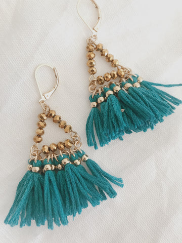 Call Me The Breeze Audrey Tassel Earrings Teal