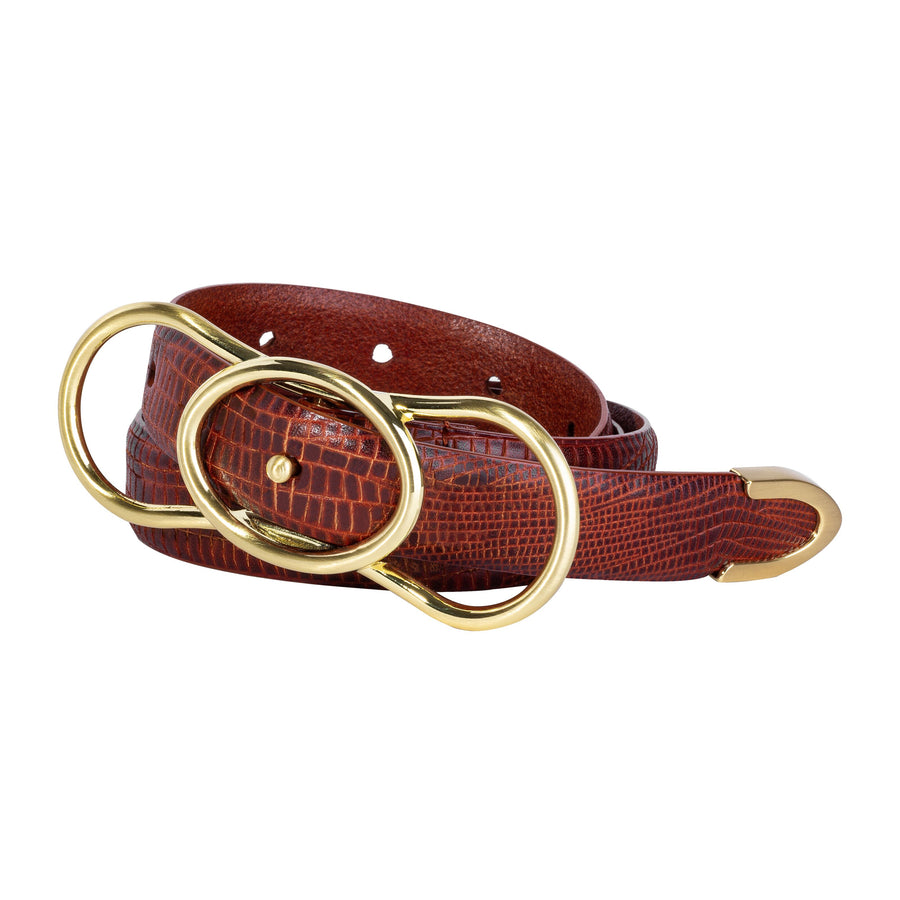 Sancia The Sora Belt Antique Tan Lizard