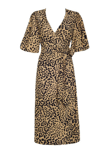 Faithfull Elfrida Wrap Dress Shamari Animal Print