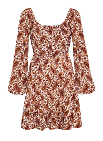 faithfull Naline Mini Dress Sable Paisley Print Burgundy