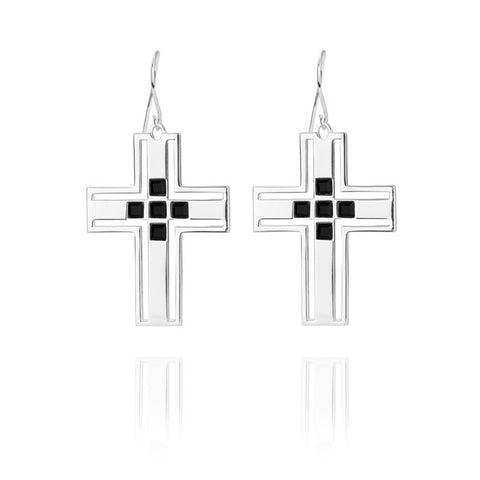 F and H Richie Cross Earring Silver - Call Me The Breeze